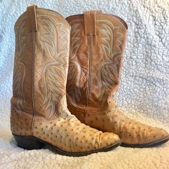 Narcana Mens Ostrich Skin Cowboy Boots